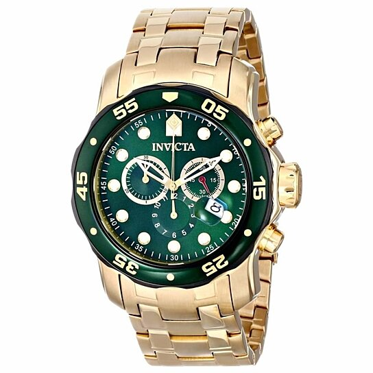 buy invicta 80072 men 39 s pro diver quartz chronograph green dial yellow gold steel dive watch by. Black Bedroom Furniture Sets. Home Design Ideas