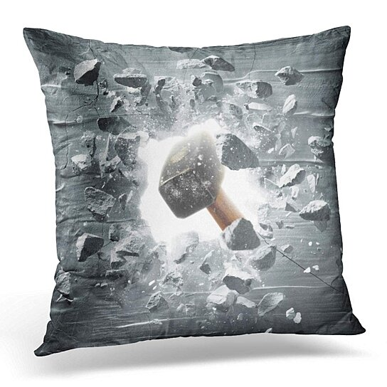 Buy Abstract Hammer Hitting The Wall Causing Hole Debris Breakthrough Pillowcase Cushion Cover 20x20 Inch By Harriet Queena Queena On Dot Bo