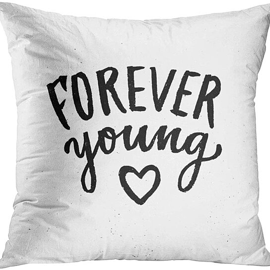 Buy Beach Forever Young Lettering Summer With Brush Modern Ink Calligraphy For Save The Date Throw Cushion Pillowcase Cover 16x16 Inch By Harriet Queena Queena On Dot Bo