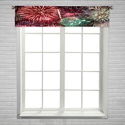 Colorful Fireworks Over Night Sky Window Curtain Valance Rod Pocket