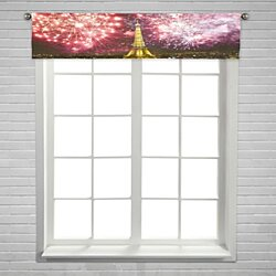 Eiffel tower fireworks celebration New Year Paris France Window Curtain Valance Rod Pocket