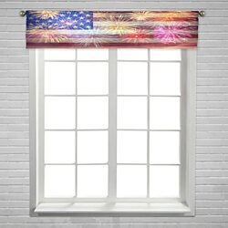 Fireworks flag 4th of July USA Independense Day  Window Curtain Valance Rod Pocket