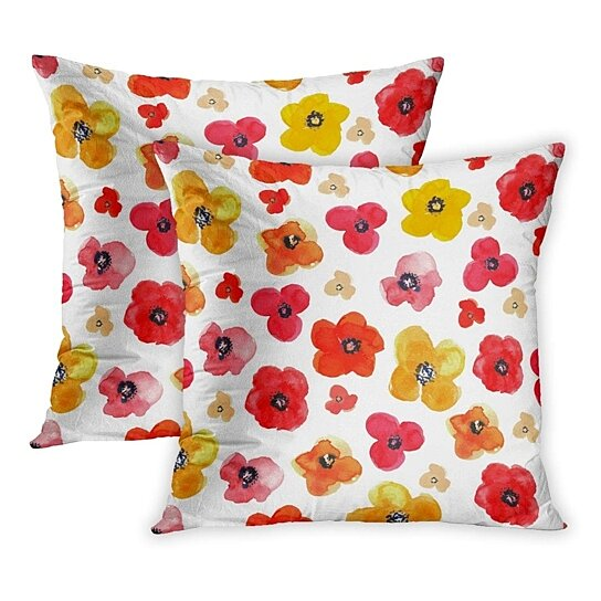 Buy Green Flower Of Floral Red Yellow Poppies On Drawing Watercolor Daisy Pattern Field Abstract Pillowcase Pillow Cover 20x20 Inch Set Of 2 By Harriet Queena Queena On Dot Bo