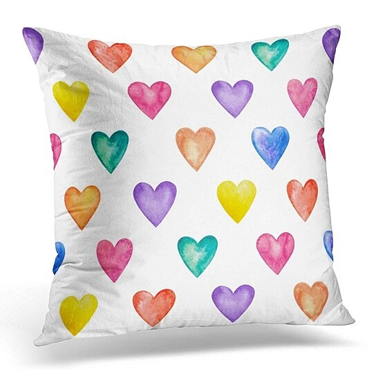 Buy Purple Love Watercolor Hearts Pattern Blue Watercolour Pillowcase Cushion Cover 18x18 Inch By Harriet Queena Queena On Opensky