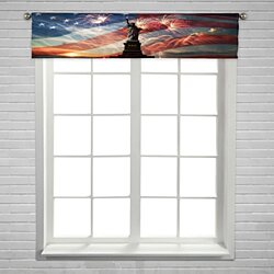 Statue of Liberty on the flag usa sunrise and fireworks Window Curtain Valance Rod Pocket