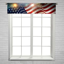 United States flag Fireworks Independence Day Fourth July celebrate  Window Curtain Valance Rod Pocket