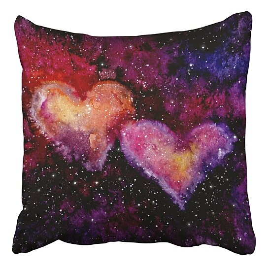 Buy Watercolor Bright Pink Hearts Nebula Deep Space Pillowcase Cover Cushion 20x20 Inch By Harriet Queena Queena On Dot Bo