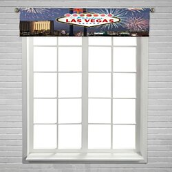 Welcome to Fabulous Las Vegas Nevada fireworks Window Curtain Valance Rod Pocket