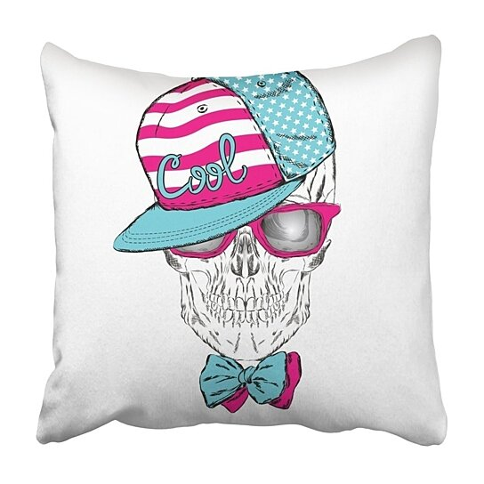 Buy White Accessories Skull In Cap And Glasses Hipster