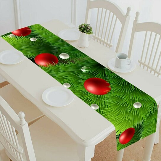 Buy Winter Green Pine Branch Baubles Christmas Tree Table Runner Table Cloth Tea Table Cloth By Harriet Queena Queena On Dot Bo