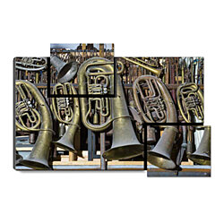 "Retro Horns - Music Instrument, Retro Brass Horn, 31.5"" x 21.5"" Print on Wood"
