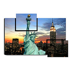 "The Statue of Liberty - New York City Skyline, Sunset, 31.5"" x 21.5"" Print on Wood"