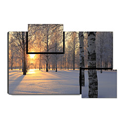 "Winter Sunrise - Morning Snow Landscape, 31.5"" x 21.5"" Print on Wood"
