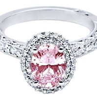 3.01 carats Pink oval & white round diamonds wedding ring WG14K