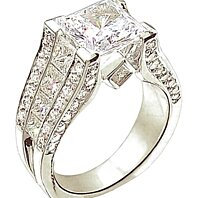 3.51 Ct. diamond engagement ring accents gold ring