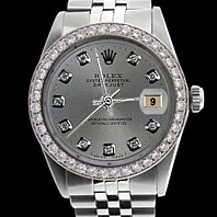 Jubilee SS Rolex gents date just watch gray diamond dial bezel