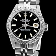 SS jubilee bracelet black stick dial diamond bezel Rolex watch