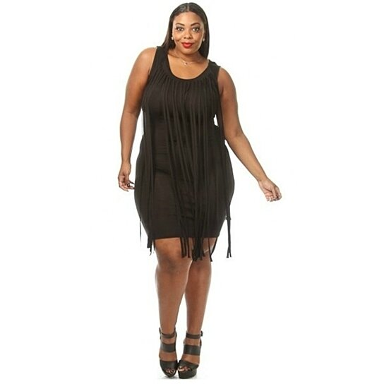 Buy Plus Size Fringe Tiered Bodycon Dress by Diva Swag on OpenSky