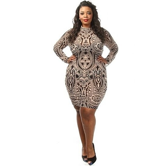 0f4798fc3eb Buy Plus Size Long Sleeve Tribal Ink Mesh Bodycon Mini Dress Taupe by Diva  Swag on OpenSky
