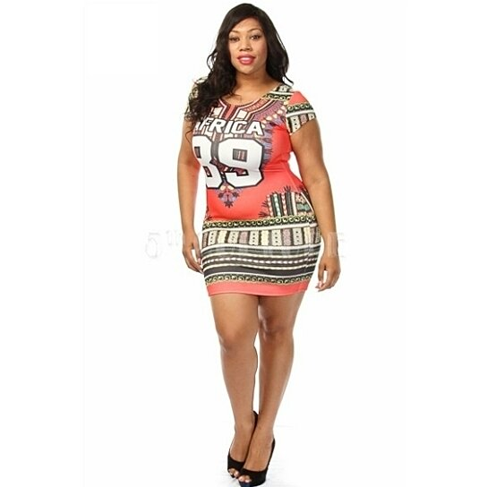 Buy Plus Size Short Sleeve Africa 89 Tribal Print Bodycon Mini