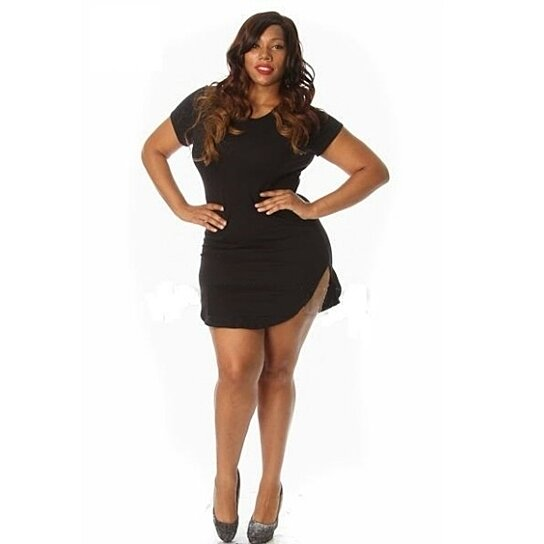 Buy Plus Size Short Sleeve Curved Bottom Dress By Diva Swag On Opensky