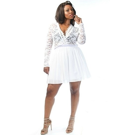 Buy Plus Size V-Neck Floral Lace Tulle A-Line Mini Dress White by ...
