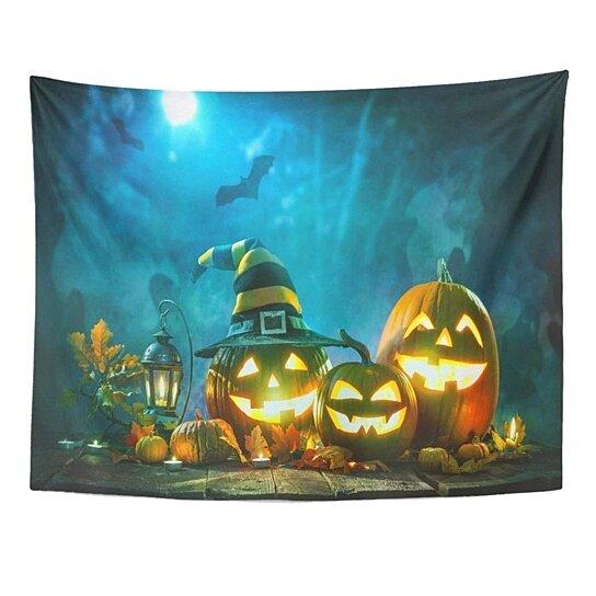 Buy Blue Funny Halloween Pumpkin Jack Lantern Burning