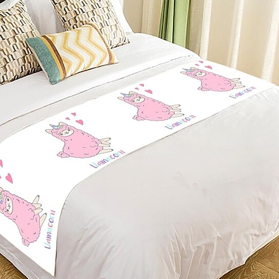 Buy Funny Smiling Pink Unicorn Llama Alpaca Bed Runner Bedroom Bedding Decor Bedding Scarf Size 20x95 Inches By Hedda Stan On Dot Bo