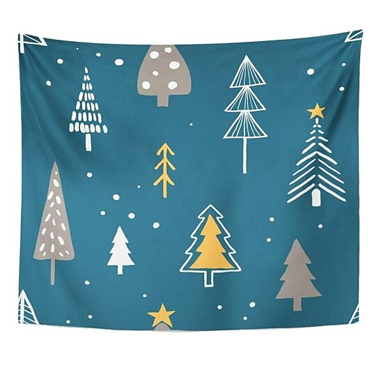 Buy Merry Christmas With Simple Minimalist Trees On Dark Doodle Forest Cartoon Designs Wall Art Hanging Tapestry 60x80 Inch By Hedda Stan On Dot Bo
