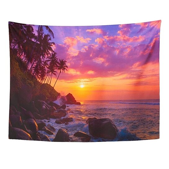 Buy Pink Travel Palm Tress On Tropical Coast At Sunset Orange Beach Scenery Wall Art Hanging Tapestry 51x60 Inch By Hedda Stan On Dot Bo