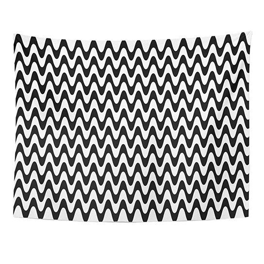 Buy Vibration Intense Optical Zig Zag Pattern Geometric Black Escher Wall White Abstract Wall Art Hanging Tapestry 60x80 Inch By Hedda Stan On Dot Bo