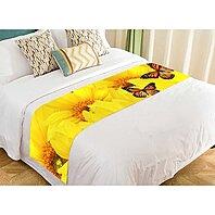 ECJZNT Gold White Polka Dot Swiss Dots Bed Runner Bed Scarf Bed Decor 20x95 inch