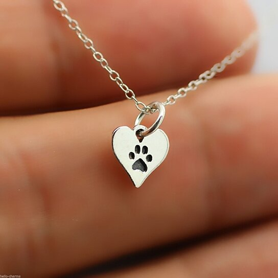 Buy Heart Paw Print Necklace 925 Sterling Silver Pet