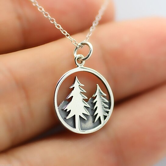 buy tree necklace 925 sterling silver mountain charm. Black Bedroom Furniture Sets. Home Design Ideas