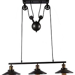 3 Light Adjustable Black Industrial Pulley Pendant Lamp Light Edison Chandelier