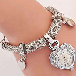 Boutique Rhinestone Mesh Rope Heart Charm Fashion Bangle Bracelet Watch