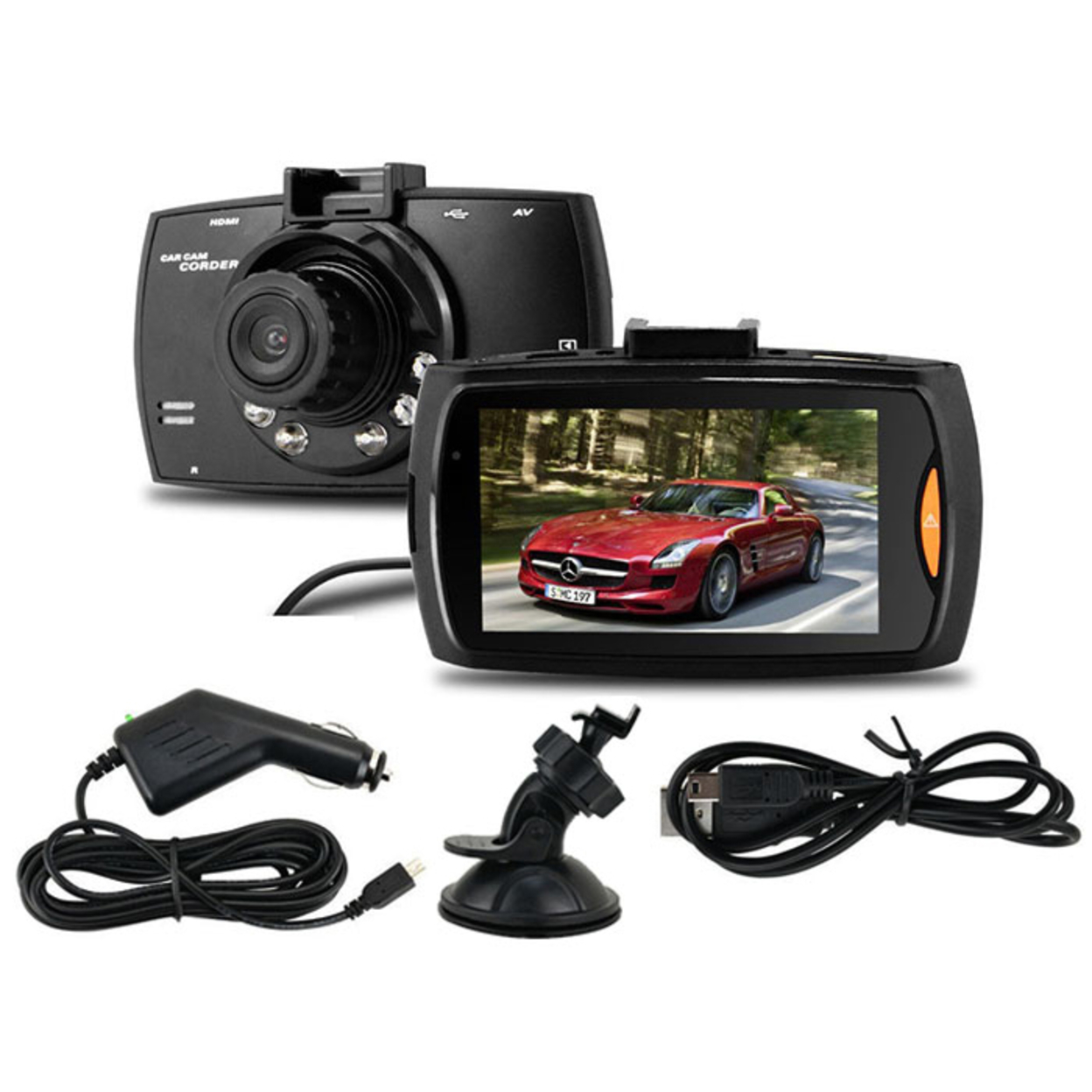 HD Dash Camera with 2.7'' LCD Screen, G-Sensor & 160° Wide Angle Lens - Includes Car Charger & Suction Cup Mount 565f7953913d6fa8048b460e