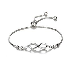 925 Sterling Silver/ 18k Gold Crystal Infinity Bracelet for Women
