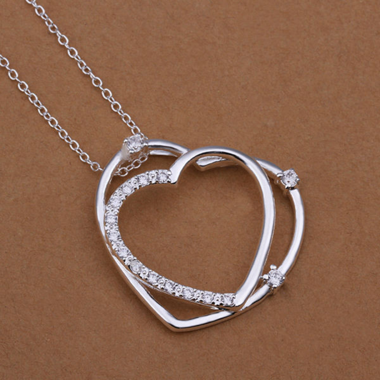 Aria Heart Necklace 925 Sterling Silver Plated