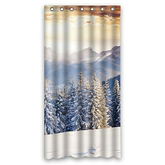 buy dramatic sunset sky shower curtain mountain winter landscape shower curtain 36x72 inch by. Black Bedroom Furniture Sets. Home Design Ideas