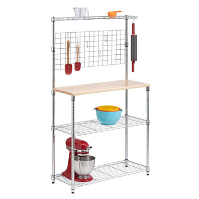 Bakers Rack With Storage, Chrome