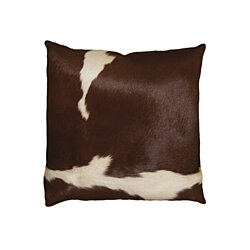 "TORINO COWHIDE PILLOW 18""X18"" BROWN & WHITE"