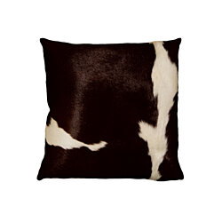 "TORINO COWHIDE PILLOW 18""X18"" CHOCOLATE & WHITE"