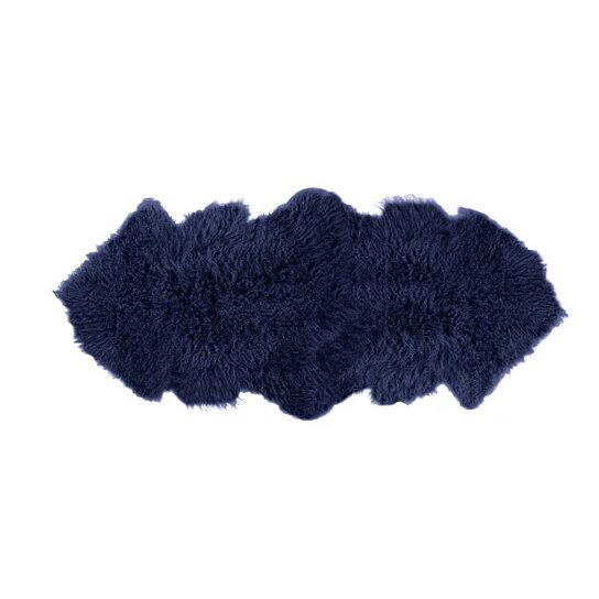 Rockwall Mongolian Sheepskin Faux Fur Double Rug 2 X 6 Ink