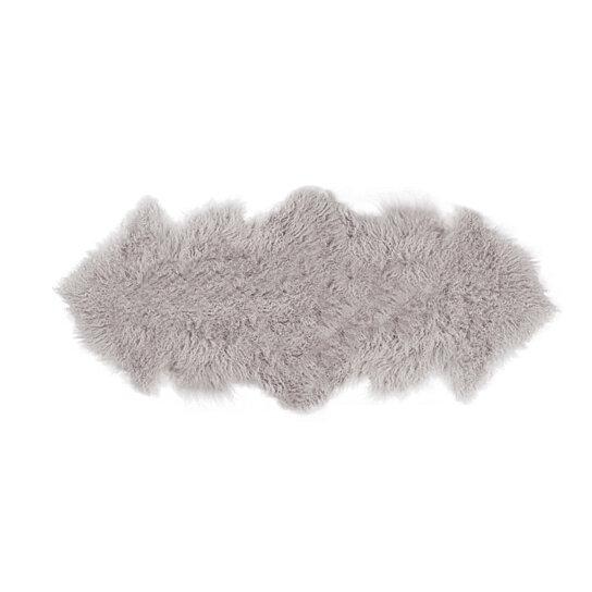 Rockwall Mongolian Sheepskin Faux Fur Double Rug 2 X 6 Sage Grey