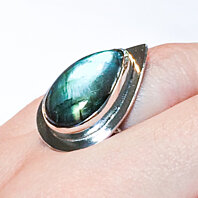 Pear Shaped Large Labradorite Ring, Size 7 Ring, Silver Ring, Statement Ring, Ready To Ship