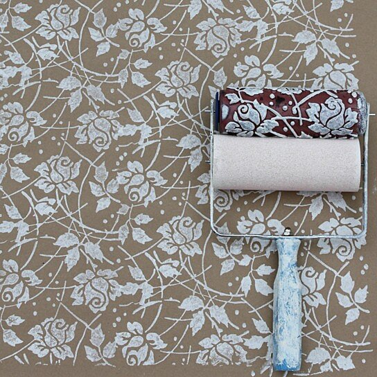 Buy Sea Roses Patterned Paint Roller By Harlow Collection