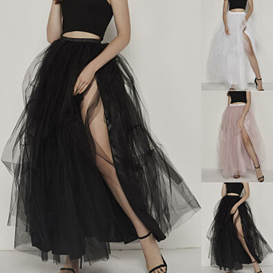 ab4f32aa1 Women Mesh Tulle Tutu Skirt Bridesmaid Princess Skirt Bubble Splice Skirt