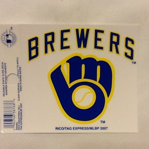 Buy Milwaukee Brewers Retro Logo Static Cling Sticker NEW ...