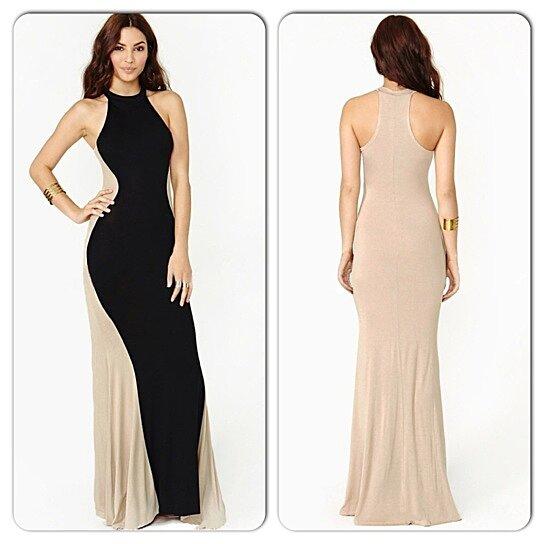 Buy Sexy Black Beige Color Block Long Gown Bodycon Maxi